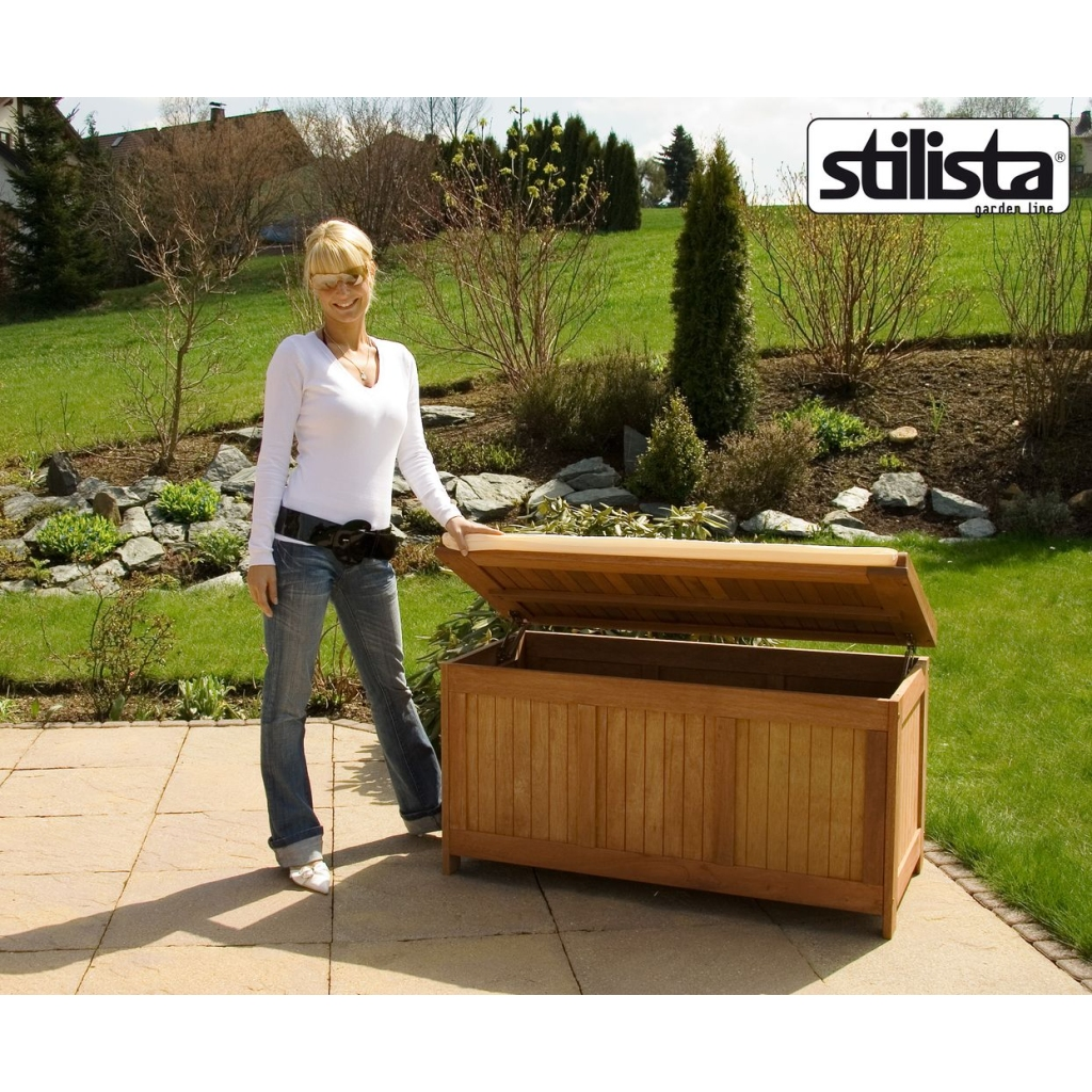 stilista fsc hartholz gartentruhe sitzbank gartenbox auflagenbox truhe holztruhe ebay. Black Bedroom Furniture Sets. Home Design Ideas