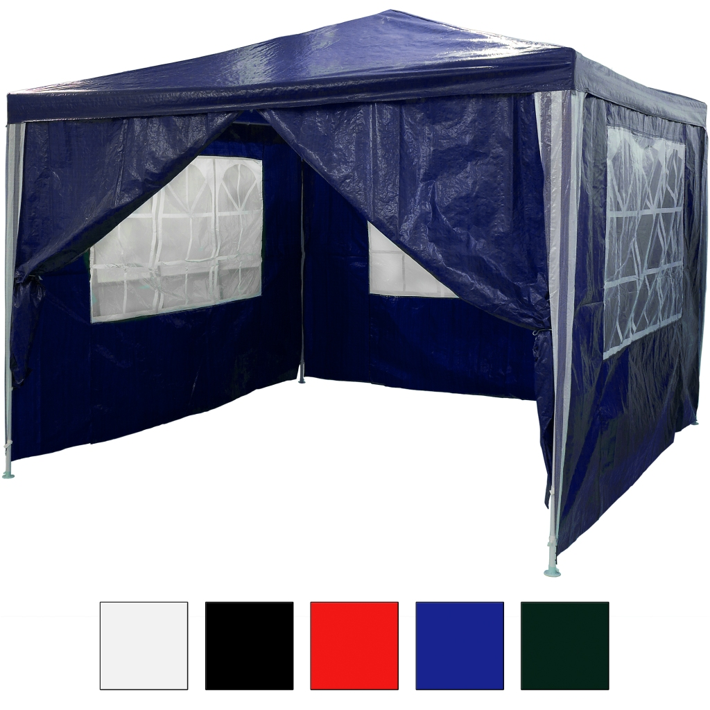 3x3 m pavillon festzelt partyzelt blau 4 seitenteile ebay. Black Bedroom Furniture Sets. Home Design Ideas