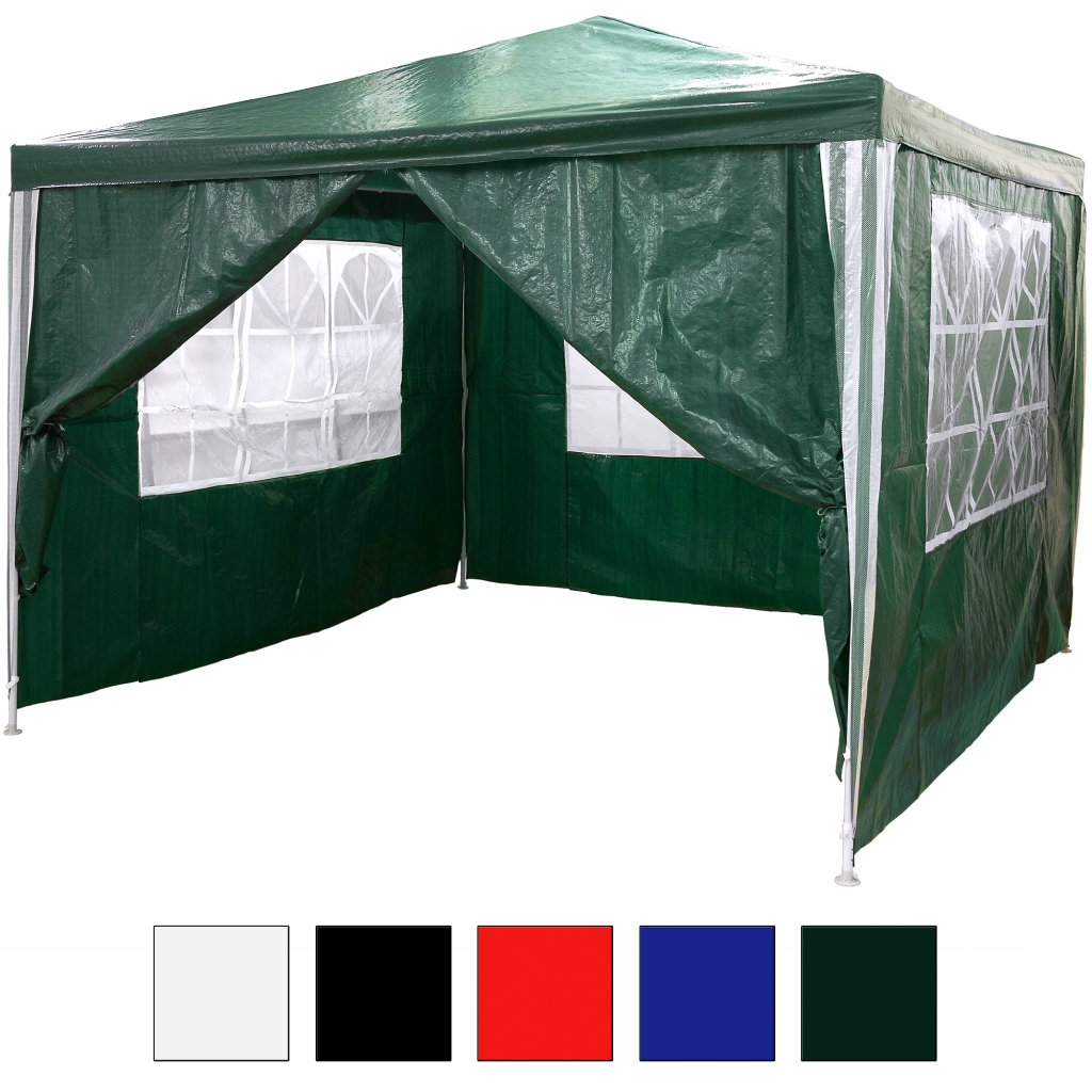 3x3 m pe pavilion waterproof incl 4 side panel green party tent party tent ebay. Black Bedroom Furniture Sets. Home Design Ideas