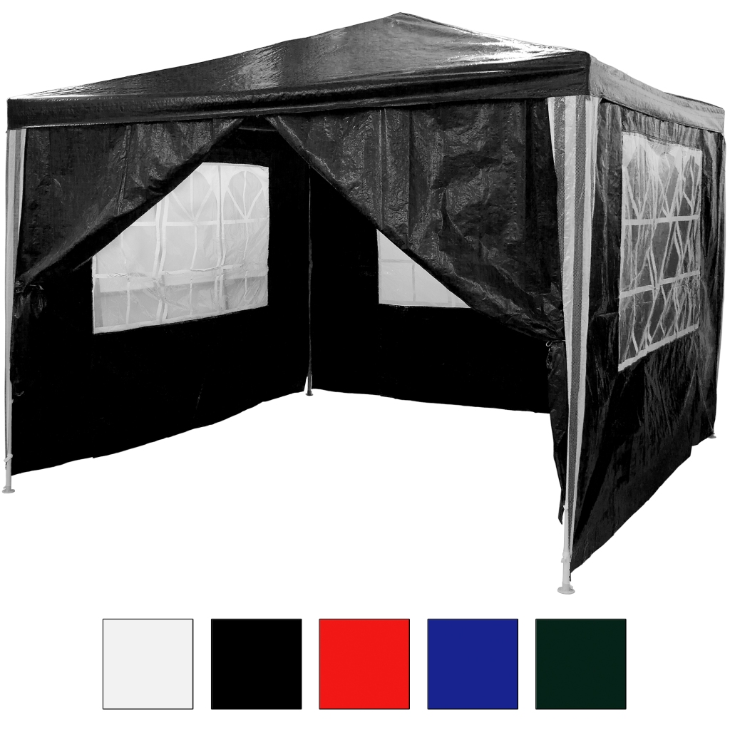 3x3 m pe pavillon wasserdicht inkl 4 seitenteile schwarz. Black Bedroom Furniture Sets. Home Design Ideas