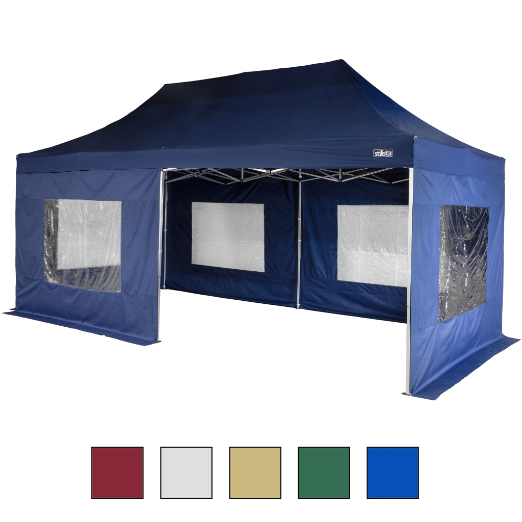 stilista profi klapp falt pavillon 3x6m wasserdicht alu blau zelt pavillion ebay. Black Bedroom Furniture Sets. Home Design Ideas