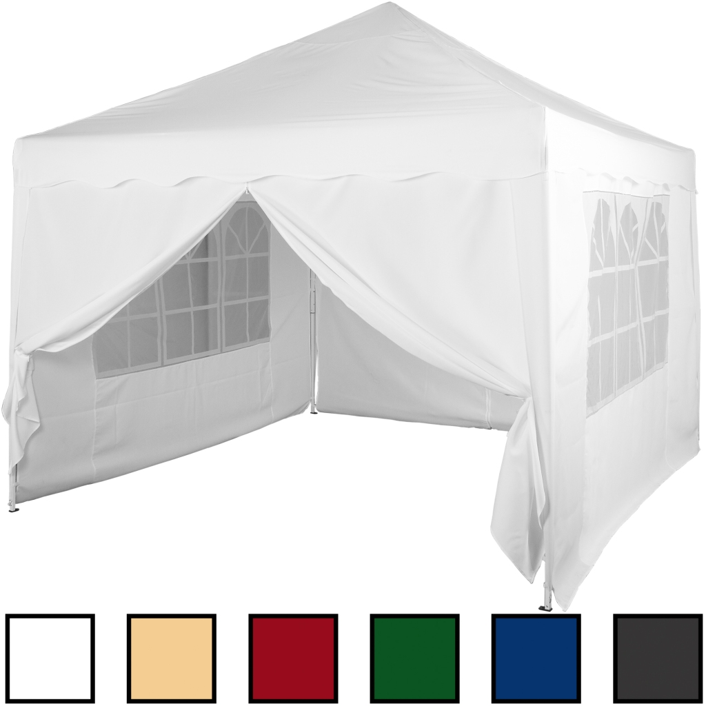 klapp falt pavillon 3x3m wasserdicht wei party zelt gartenzelt pavillion ebay. Black Bedroom Furniture Sets. Home Design Ideas