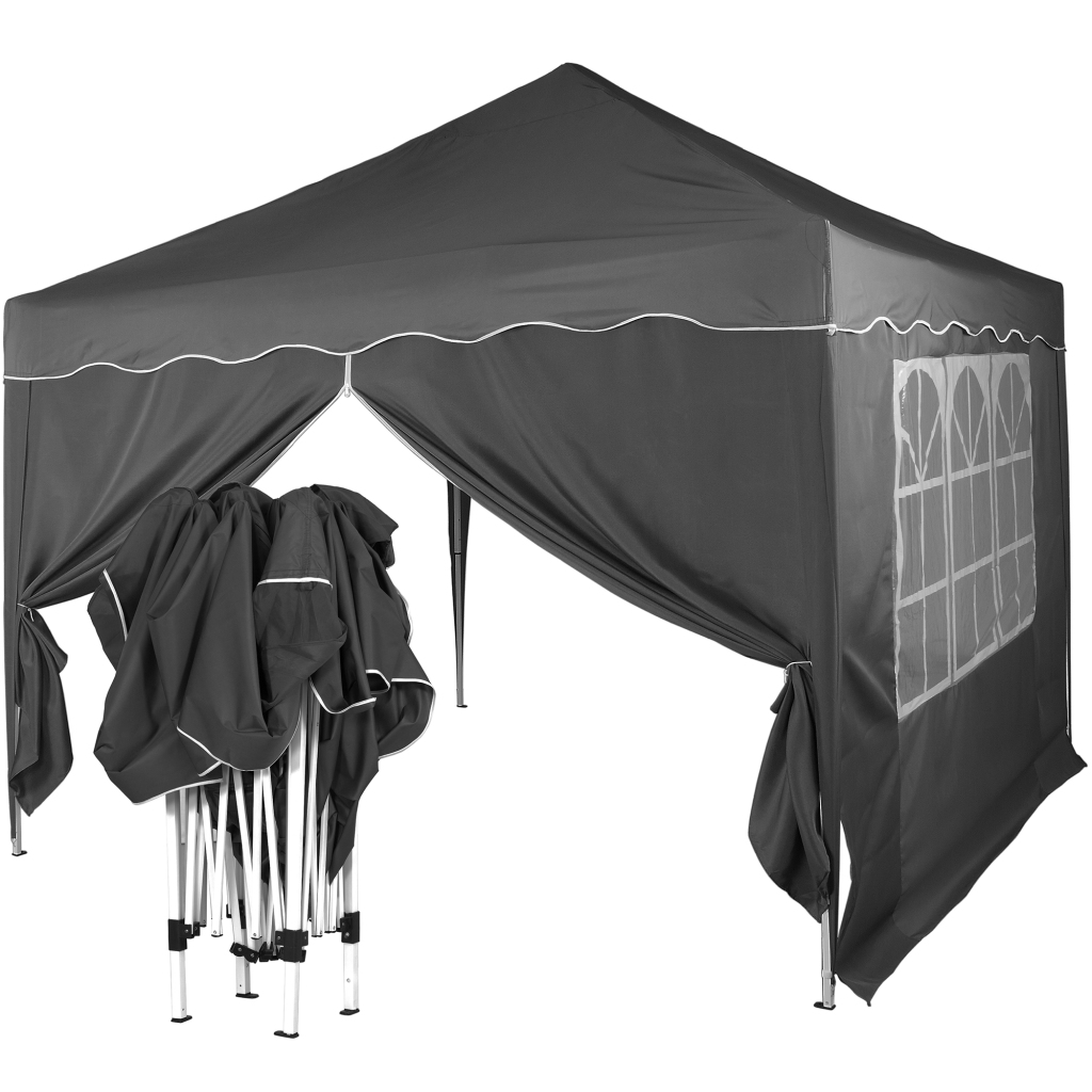 klapp falt pavillon 3x3m wasserdicht anthrazit party zelt gartenzelt pavillion ebay. Black Bedroom Furniture Sets. Home Design Ideas