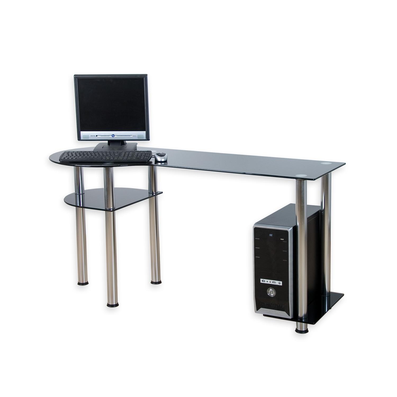 designer computertisch schreibtisch pc tisch glas neu ebay. Black Bedroom Furniture Sets. Home Design Ideas