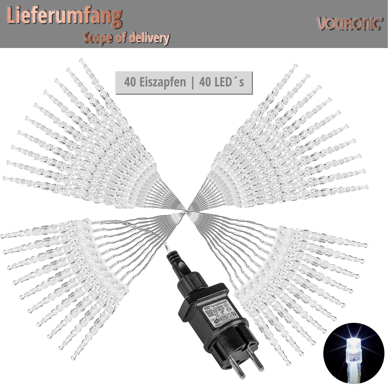 voltronic 40 led lichterkette eiszapfen weihnachten deko. Black Bedroom Furniture Sets. Home Design Ideas
