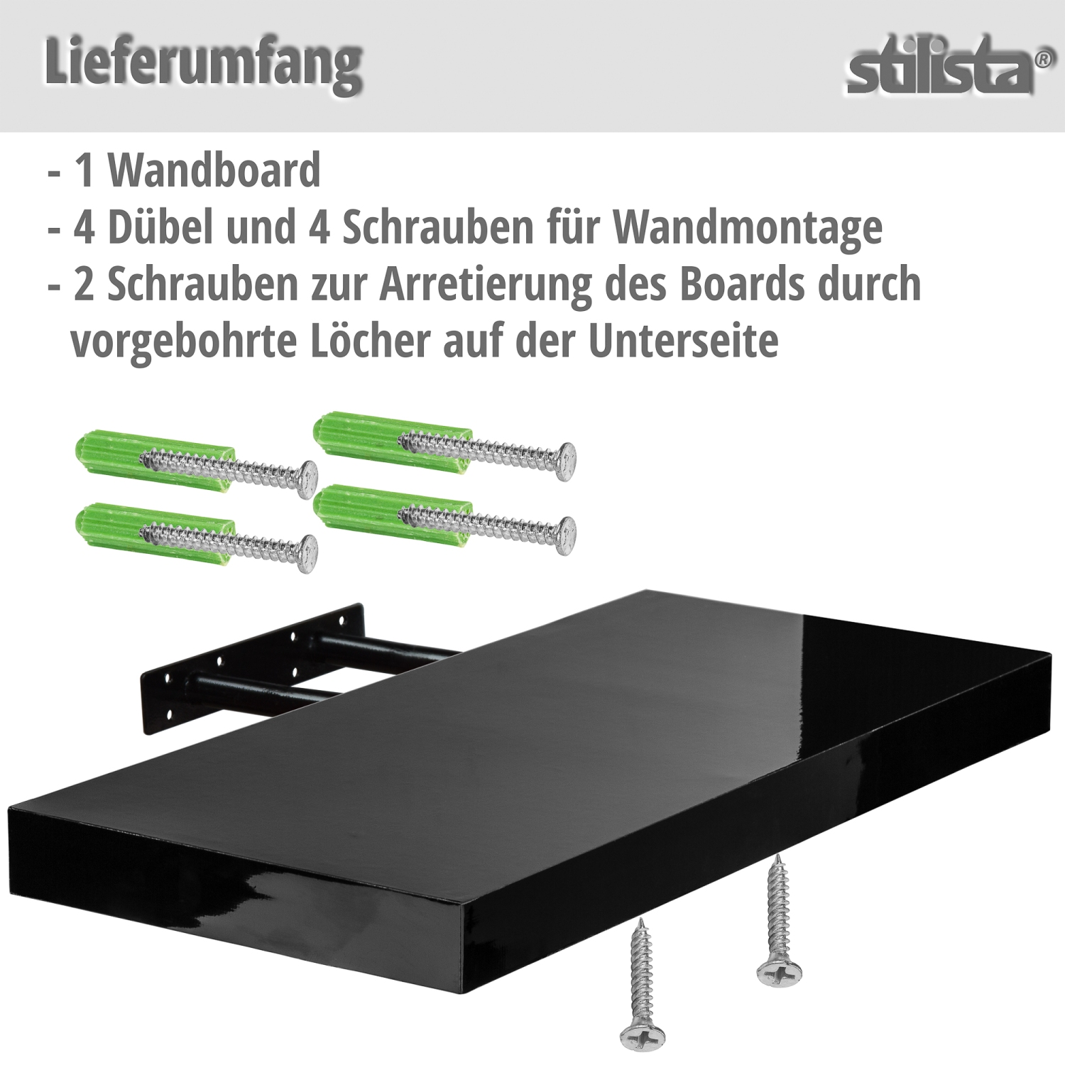 stilista wandboard volato l nge 50 cm silber cd dvd regal freischwebend. Black Bedroom Furniture Sets. Home Design Ideas