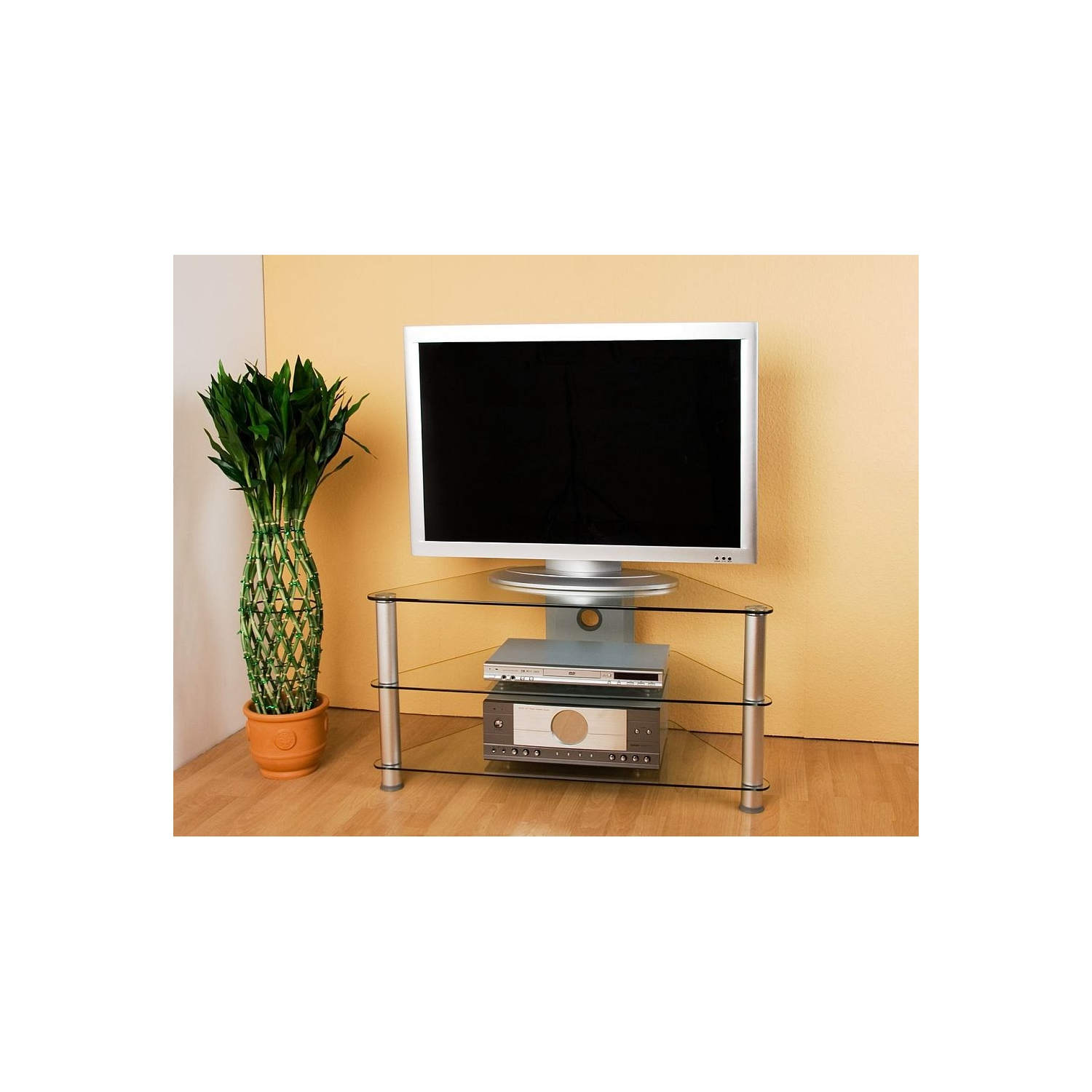 alu glas tv rack hifi schrank regal fernsehtisch glas ebay. Black Bedroom Furniture Sets. Home Design Ideas