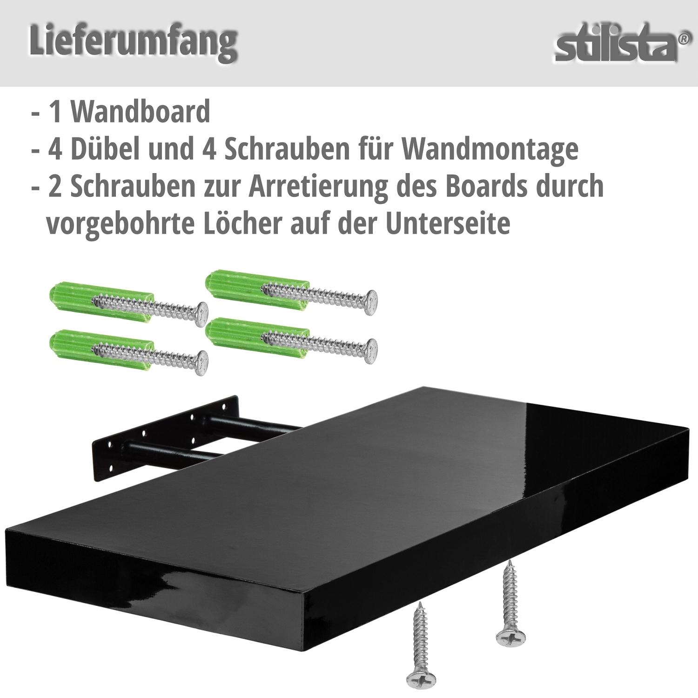 stilista wandboard volato wandregal cd dvd regal 70cm schwarz hochglanz ebay. Black Bedroom Furniture Sets. Home Design Ideas