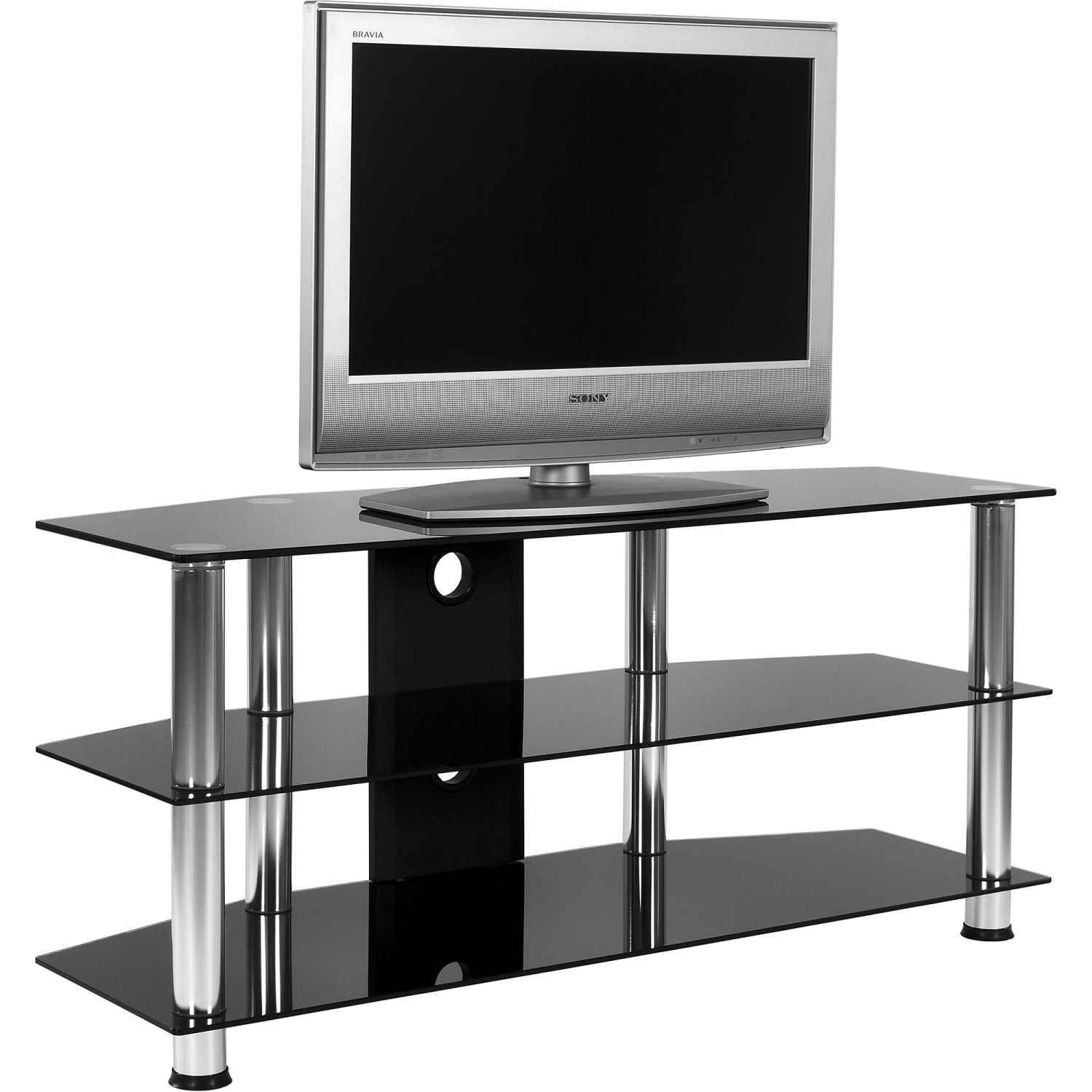 stilista tv rack tisch fernsehtisch hifi m bel schwarz. Black Bedroom Furniture Sets. Home Design Ideas