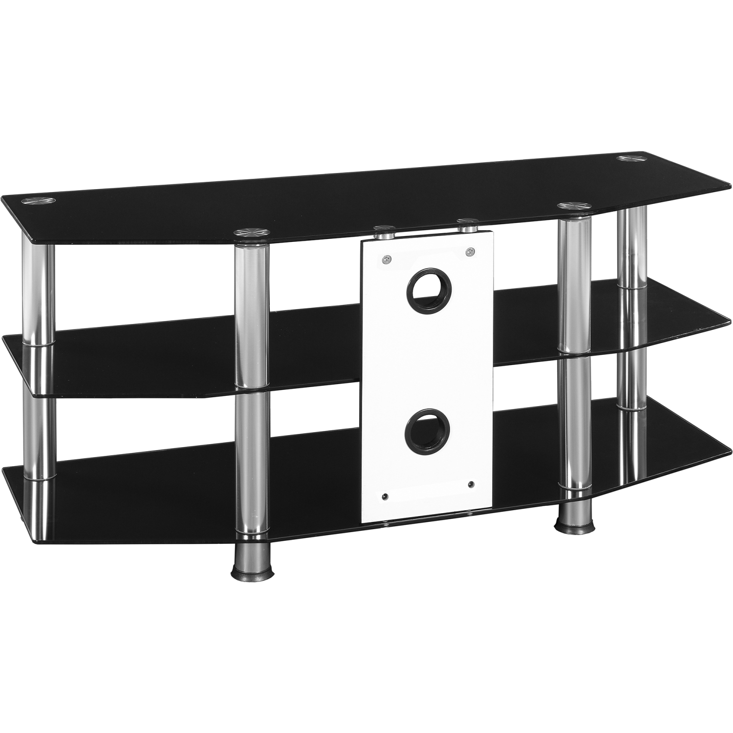 stilista tv rack tisch fernsehtisch hifi m bel schwarz glas schwarzglas ebay. Black Bedroom Furniture Sets. Home Design Ideas