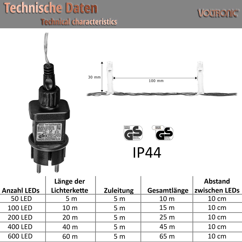 voltronic 100 led bunt lichterkette weihnachtsbeleuchtung deko ip44 ebay. Black Bedroom Furniture Sets. Home Design Ideas