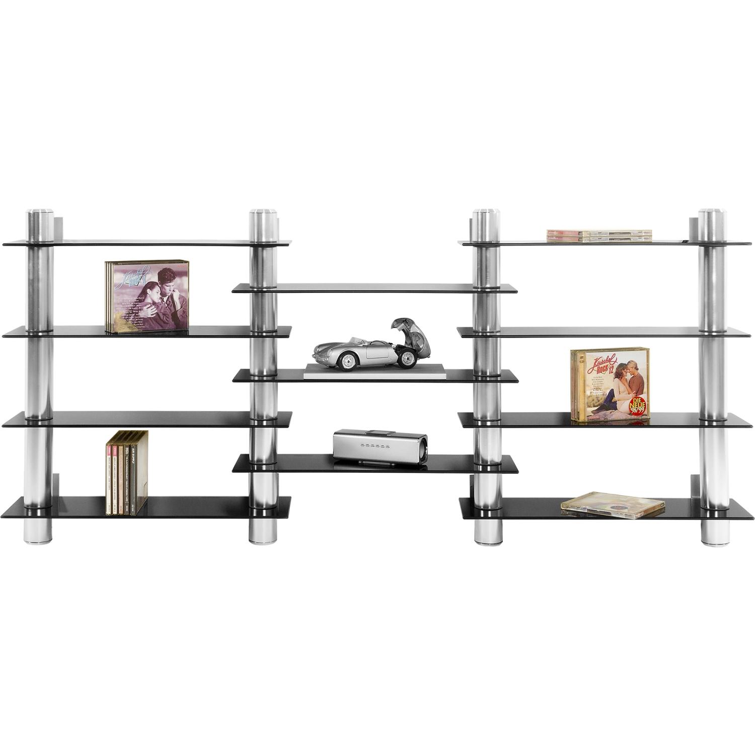 stilista cd dvd schwarz glas regal wandregal 300 cds alu ebay. Black Bedroom Furniture Sets. Home Design Ideas
