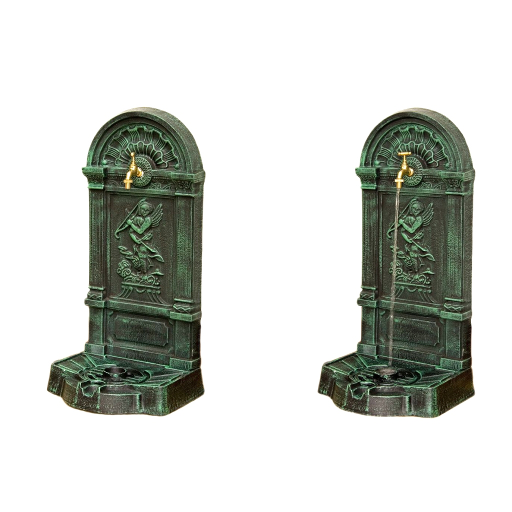standbrunnen inkl wasserhahn wandbrunnen gartenbrunnen springbrunnen gusseisen ebay. Black Bedroom Furniture Sets. Home Design Ideas