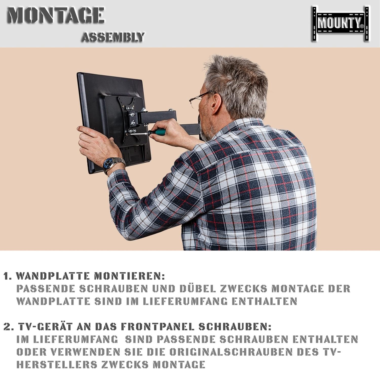 mounty my172 tv wandhalterung bis vesa 150x150 led lcd halterung schwenkbar. Black Bedroom Furniture Sets. Home Design Ideas