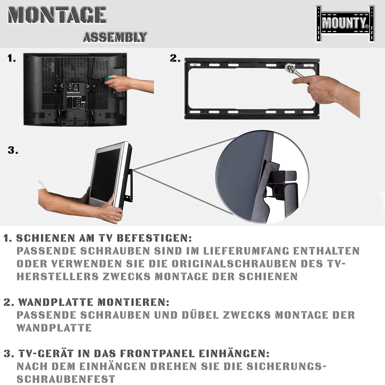 mounty lcd led plasma tv wandhalter bis 55 zoll wandhalterung halterung ebay. Black Bedroom Furniture Sets. Home Design Ideas