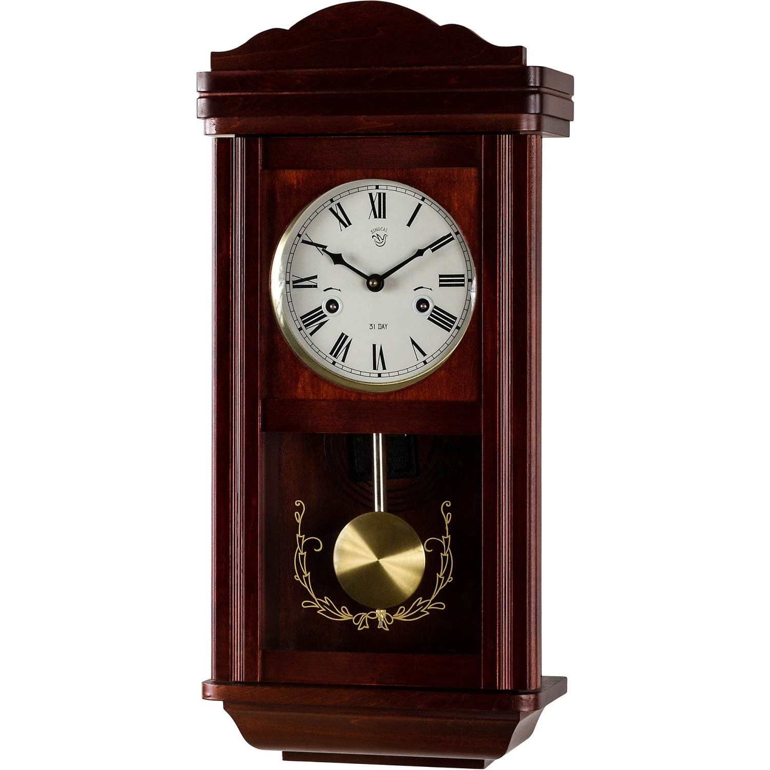 wanduhr pendeluhr uhr regulator im mahagoni stil pendel ebay. Black Bedroom Furniture Sets. Home Design Ideas