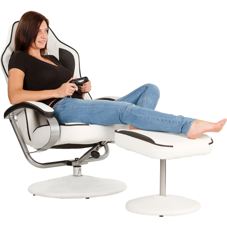 racing tv sessel relax racer gt mit fu hocker gaming wei schwarz ebay. Black Bedroom Furniture Sets. Home Design Ideas
