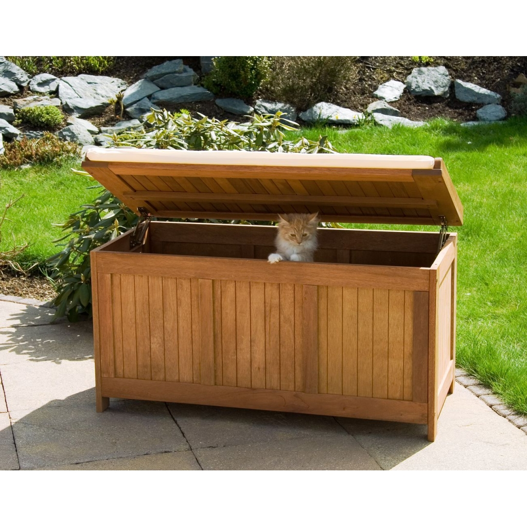 Hardwood chest stilista fsc wooden outdoor storage chest - Pouf coffre de rangement ...