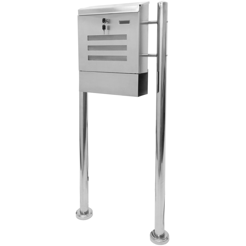 standbriefkasten briefkasten aus v2a edelstahl postkasten mit zeitungsfach 120cm. Black Bedroom Furniture Sets. Home Design Ideas