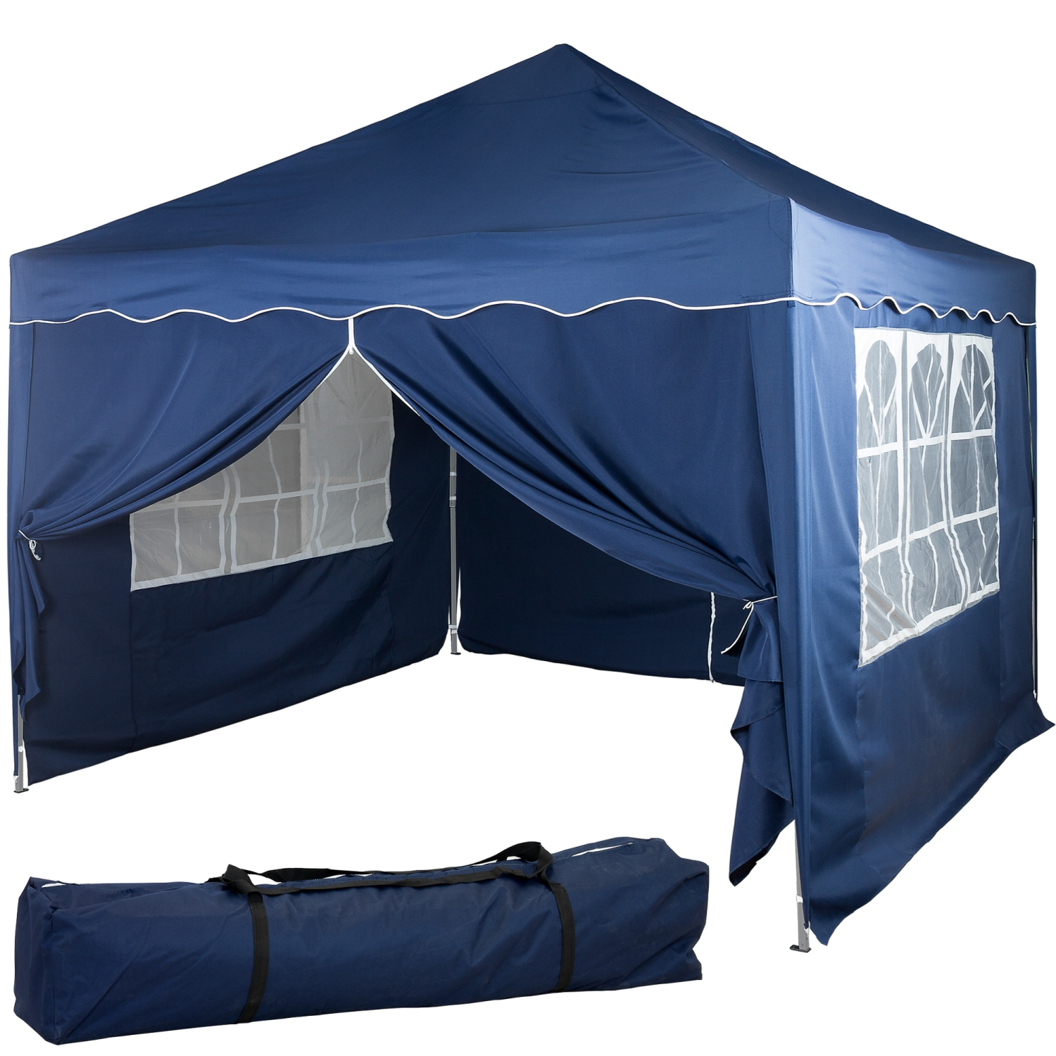 klapp falt pavillon 3x3m wasserdicht blau party zelt gartenzelt pavillion ebay. Black Bedroom Furniture Sets. Home Design Ideas