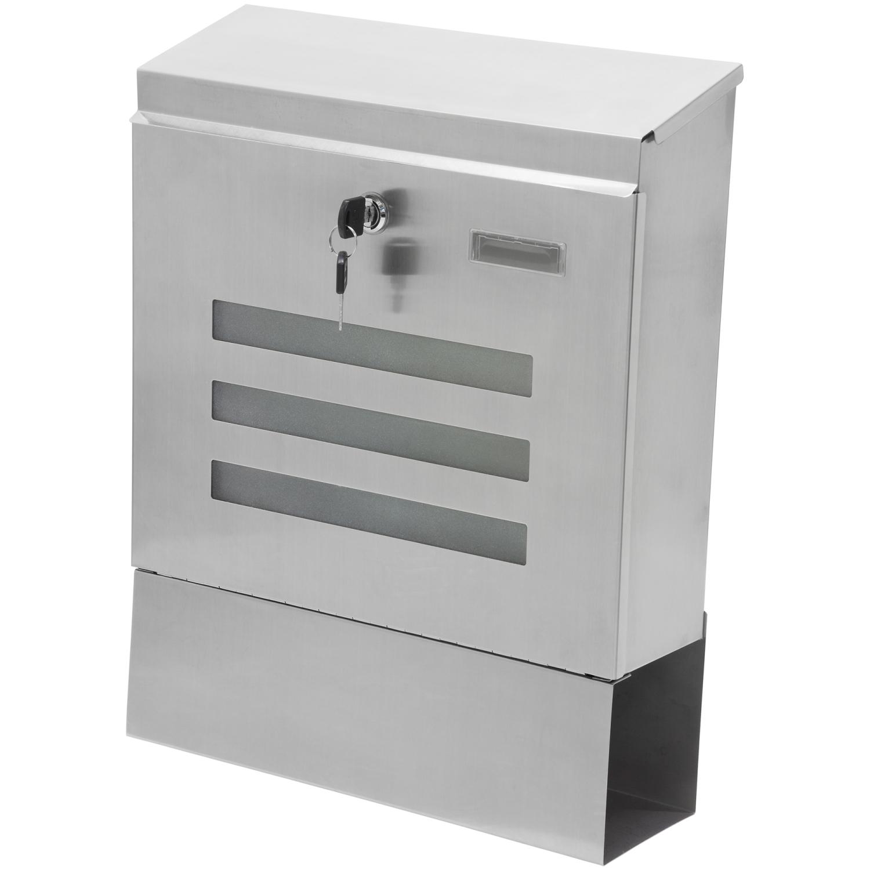 wandbriefkasten briefkasten aus v2a edelstahl postkasten mit zeitungsfach ebay. Black Bedroom Furniture Sets. Home Design Ideas