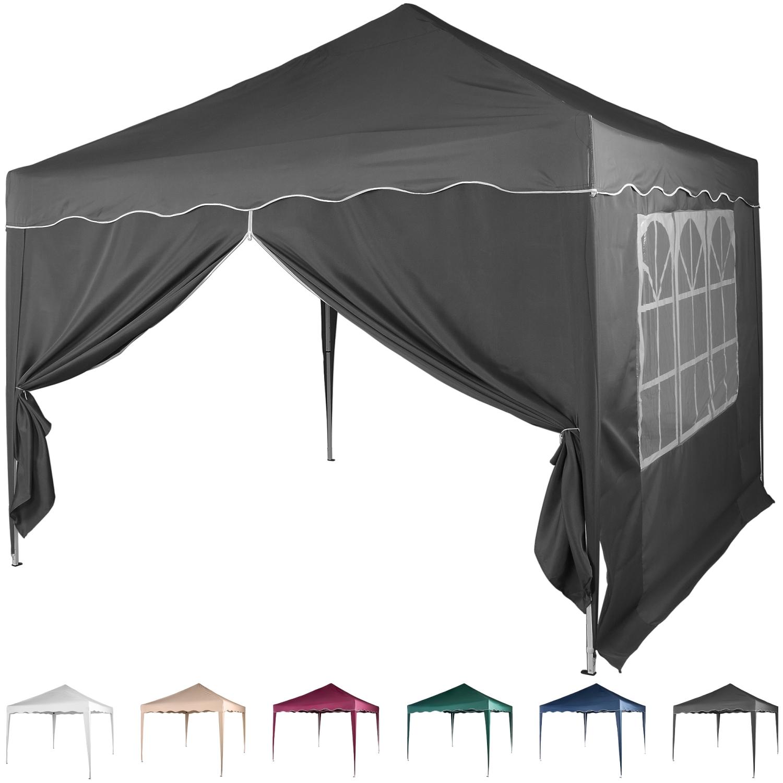klapp falt pavillon 3x3m wasserdicht anthrazit party zelt. Black Bedroom Furniture Sets. Home Design Ideas
