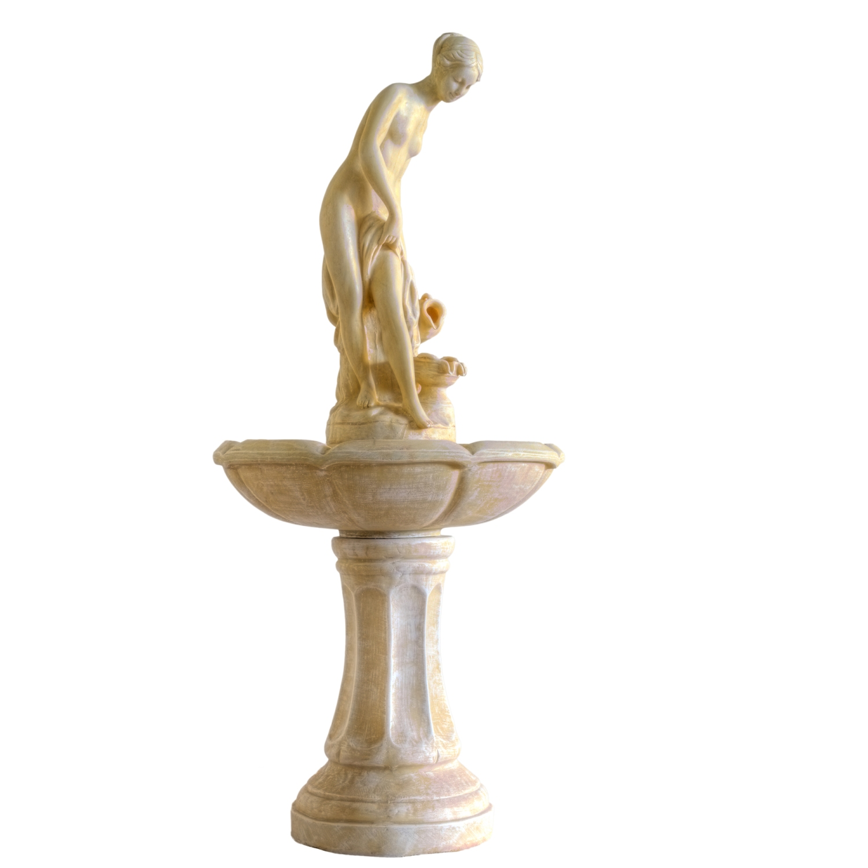 """Der wunderschöneund mit 118cmstattlich große Stilista® Brunnen """"APHRODITE"""" bringt Romantik in Ihr Heim und Garten! Erist mit einerlaufruhigen Pumpe ausgestattet, die man in der Förderleistung auch verstellen kann. Gefertigt ist er aus Polyresin,welches langlebig ist und von echtem Gestein kaum zu unterscheiden ist. Das Wasse läuft mittels Pumpe immer im Kreislauf. Bitte beachten Sie, dass der Brunnen im Winter frostfrei gelagert wird. Preis: 119.99 €"""