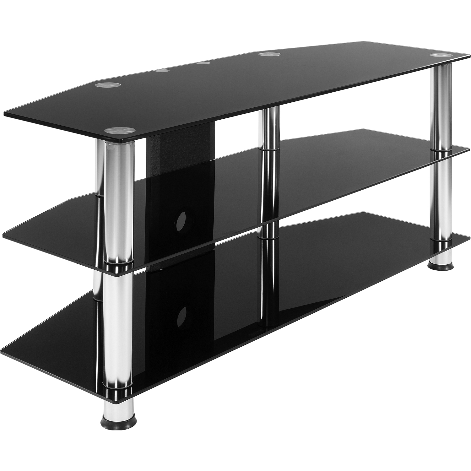 stilista tv rack tisch fernsehtisch hifi m bel schwarz glas schwarzglas. Black Bedroom Furniture Sets. Home Design Ideas