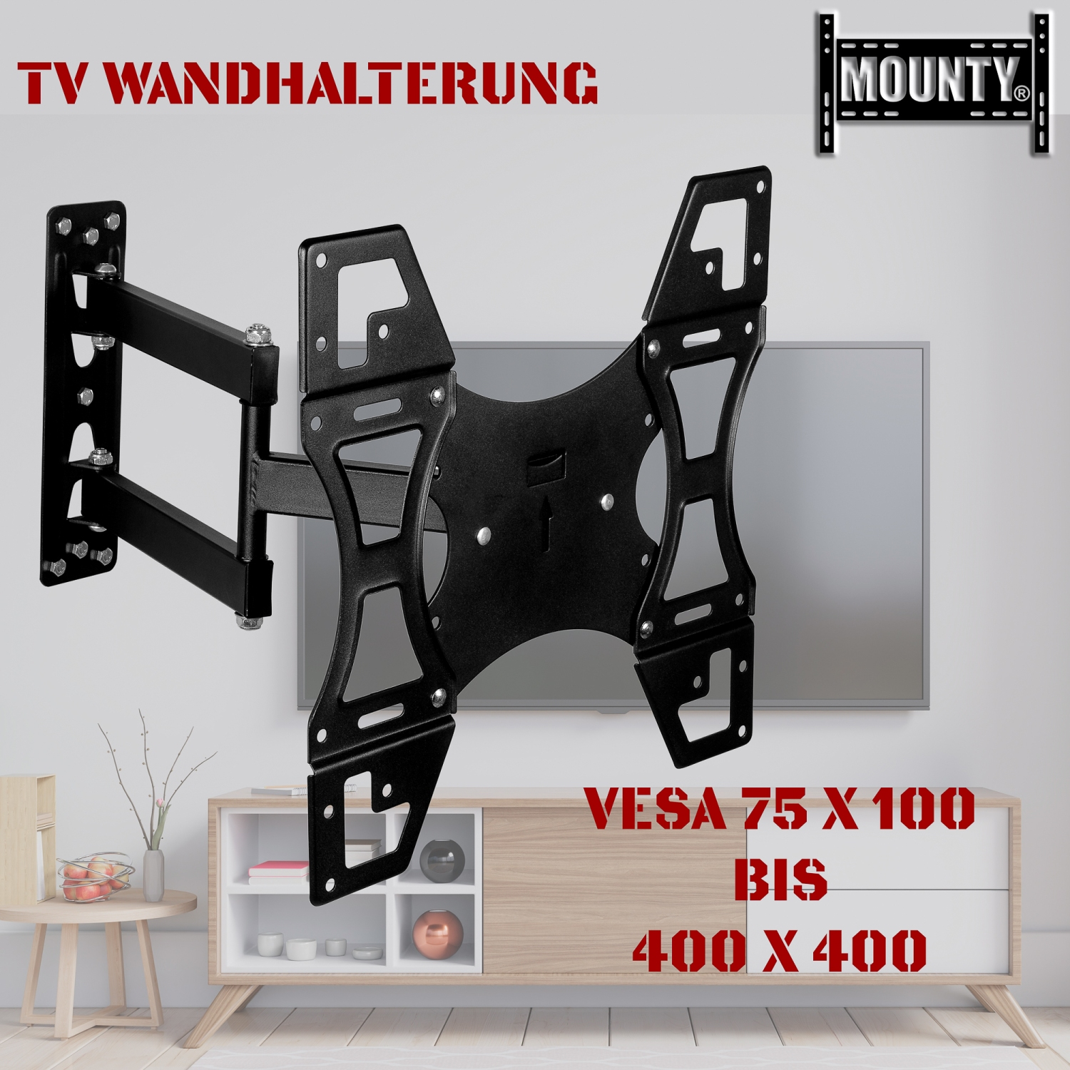support mural pour tv led jusqu 224 vesa 400x400 r 233 glable inclinable mounty my173 ebay
