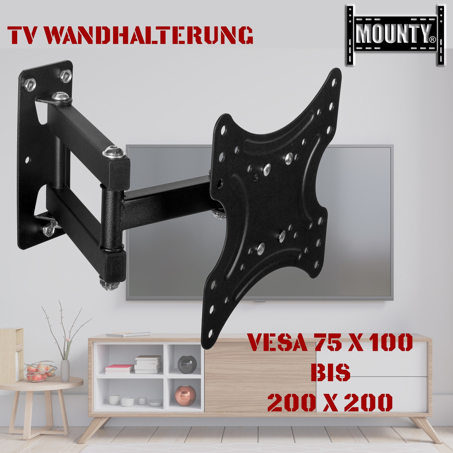 tv wandhalterung led halterung bis vesa 200x200 schwenkbar neigbar mounty my157. Black Bedroom Furniture Sets. Home Design Ideas