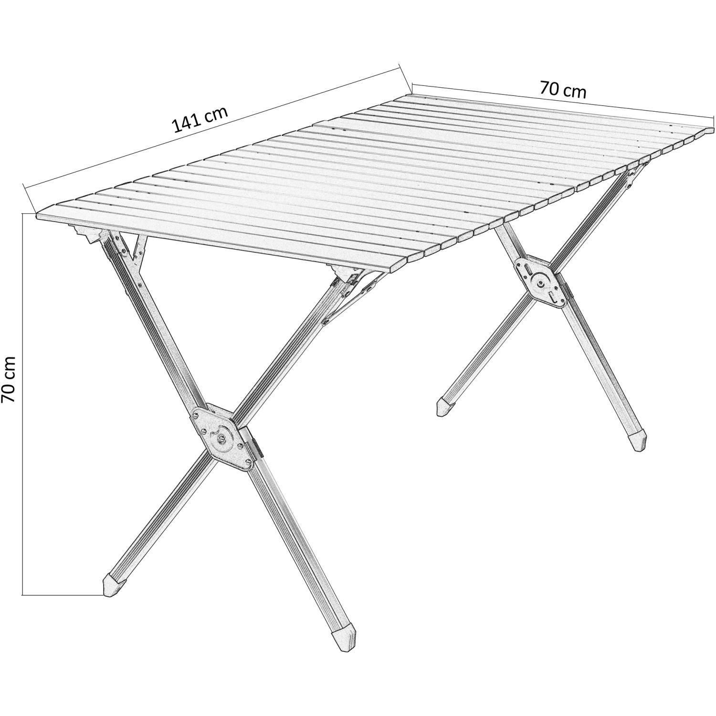 Détails sur Table de Camping Jardin Pliante Roulante en Aluminium Pliable  141x70cm
