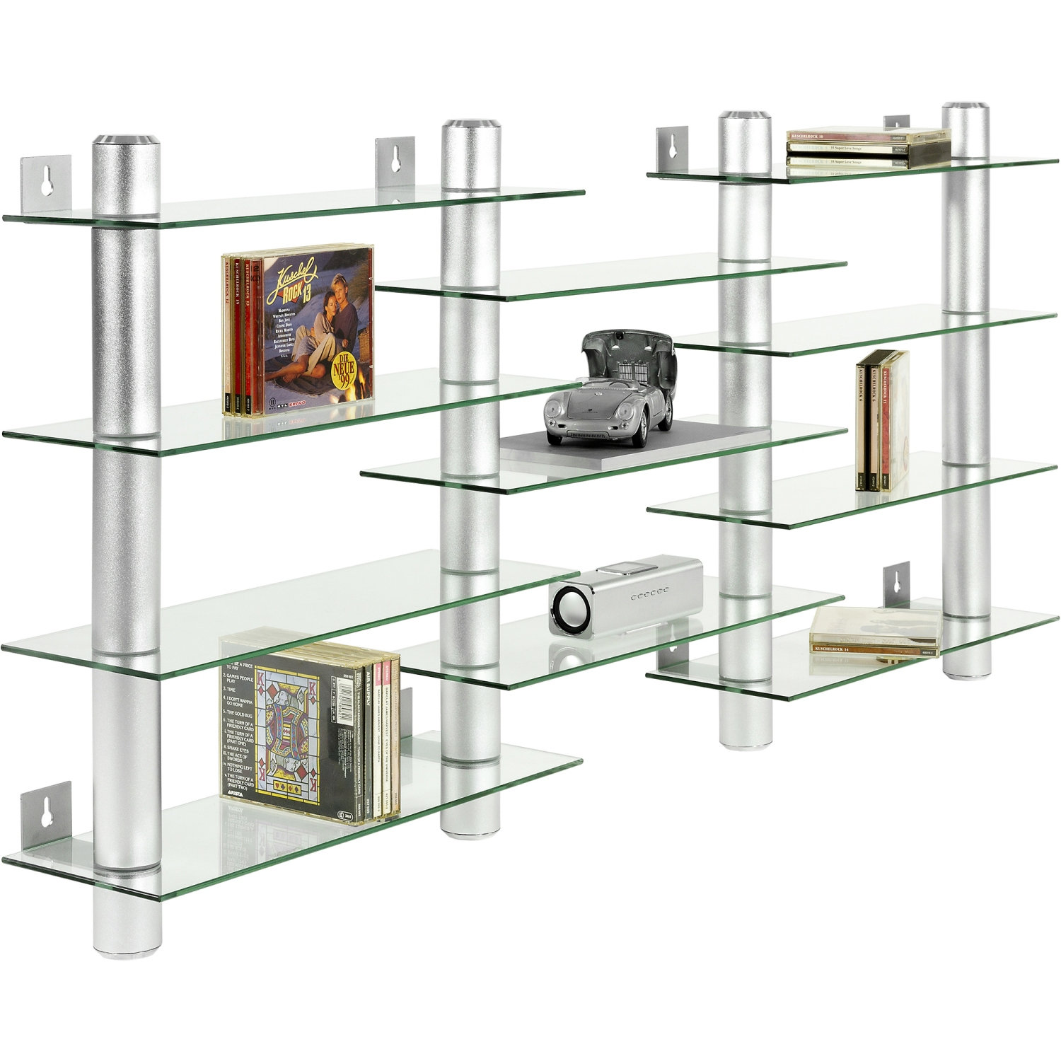 stilista design glas aluminium cd dvd regal wandregal f 300 cds ebay. Black Bedroom Furniture Sets. Home Design Ideas