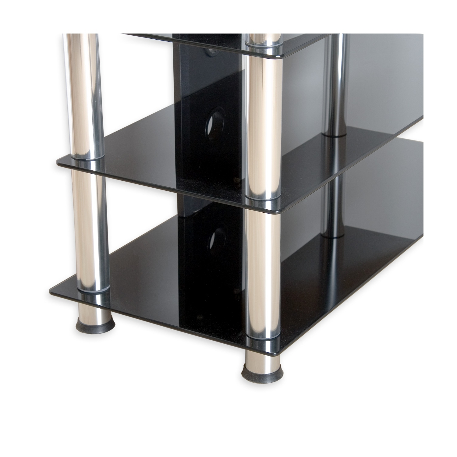 stilista tv rack schrank st nder m bel regal hifi audio glas schwarzglas ebay. Black Bedroom Furniture Sets. Home Design Ideas