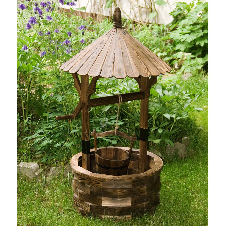 gartenbrunnen 120cm brandbehandelt ge lt brunnen holz zierbrunnen holzbrunnen ebay. Black Bedroom Furniture Sets. Home Design Ideas