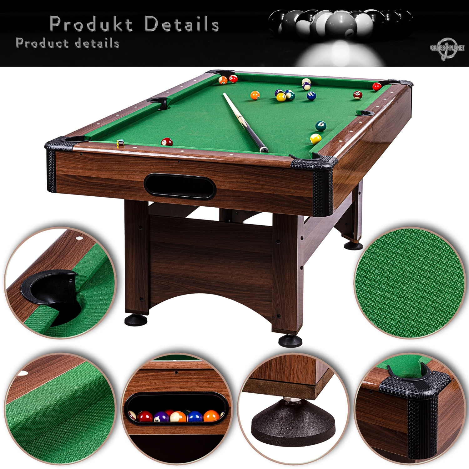 5ft billardtisch ma e 184x108x82 cm pool billiard billard billiardtisch 5 fu ebay. Black Bedroom Furniture Sets. Home Design Ideas