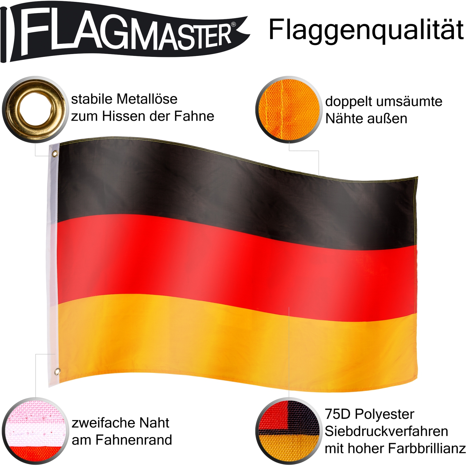 flagmaster alu fahnenmast 6 5m flaggenmast fahnenstange deutschland fahne flagge ebay. Black Bedroom Furniture Sets. Home Design Ideas